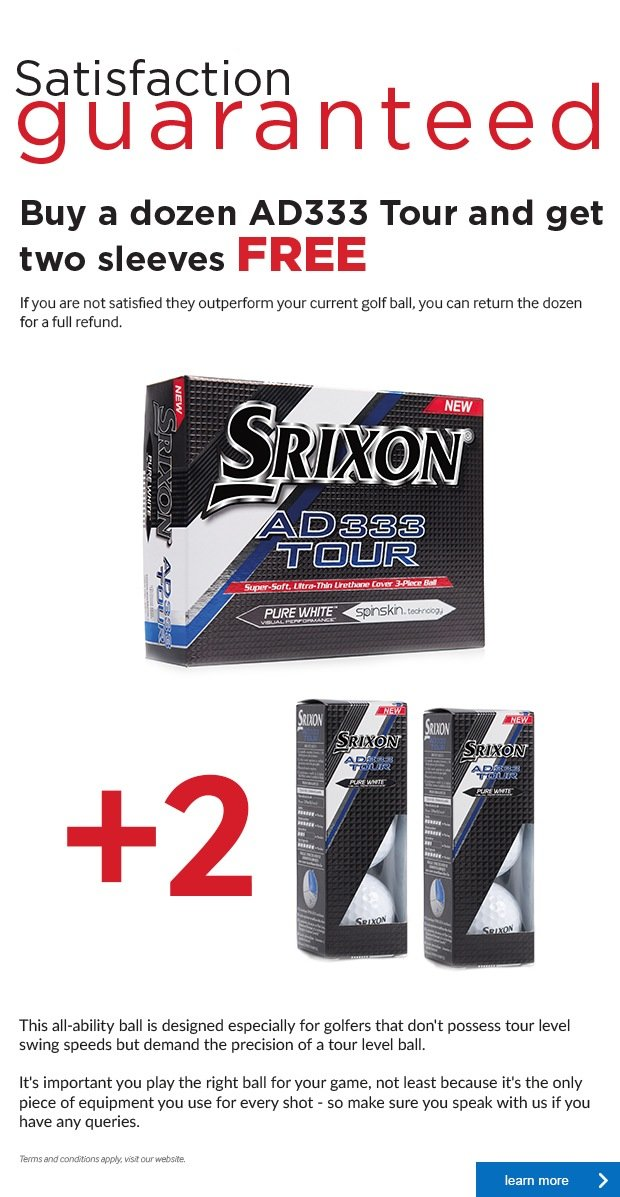 Srixon Satisfaction Guaranteed AD333 Tour